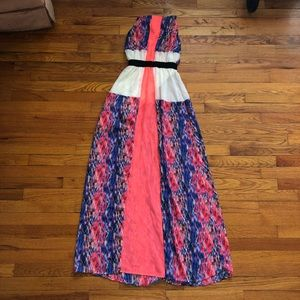Pink and Blue Patterned Maxi Dress